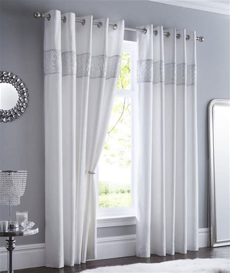 White And Silver Curtains Lined Curtains Eyelet Luxury Silver Shimmer Diamante Trim Chrome Style Rings Ebay
