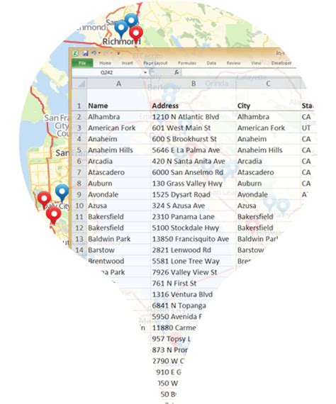 Map Locations From Excel Spreadsheet by Create A Map From Excel Spreadsheet Data Mapline Mapping