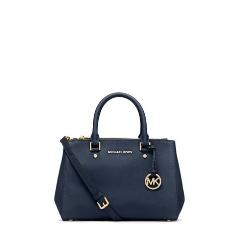 Michael Kors Small Satchel Luggage Ori lyst michael kors sutton small saffiano leather satchel in blue