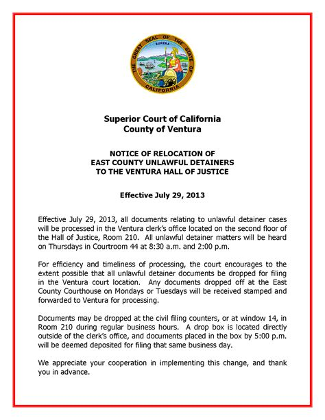 Tenant Eviction Ventura County Ventura County Unlawful Detainer Changes Effective July 29