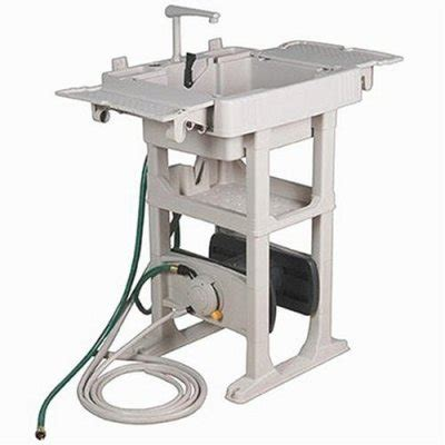 no crank outdoor sink station with water powered