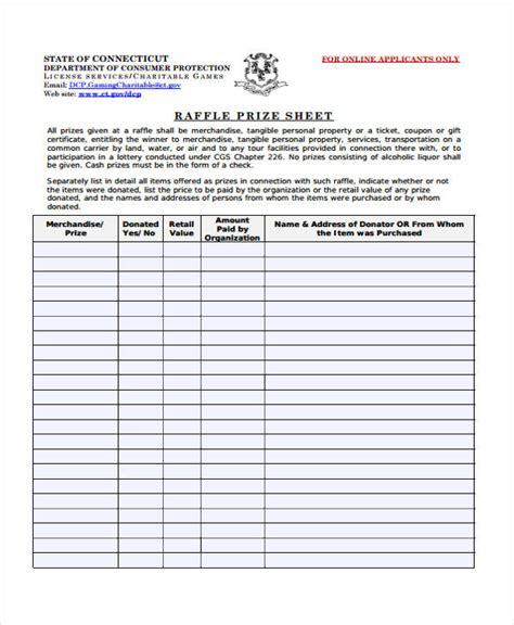 raffle template sle raffle sheet pin printable blank raffle tickets
