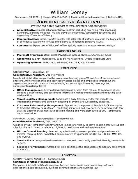 resume template for executive assistant midlevel administrative assistant resume sle