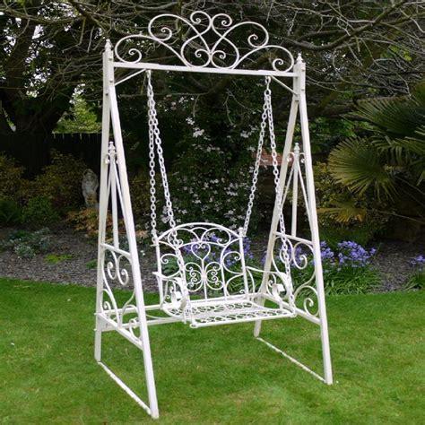 vintage garden swing swing bench antique white