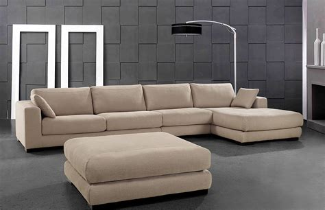 Modern Fabric Sectional by Senza Modern Beige Fabric Sectional