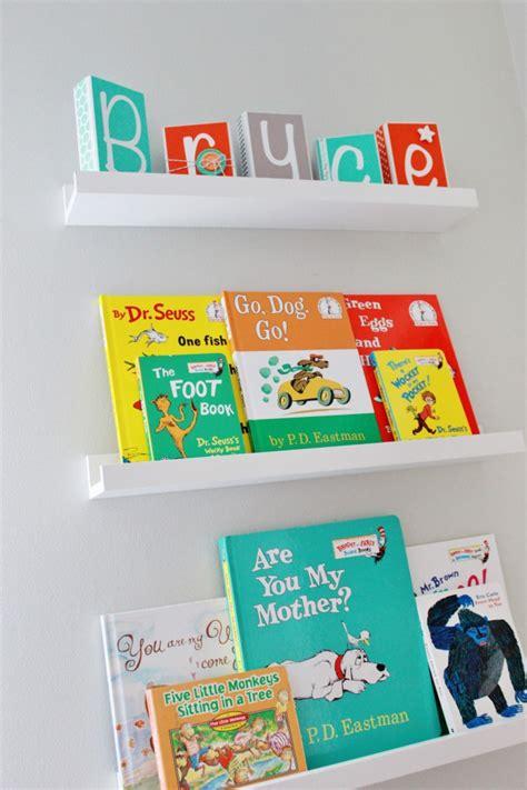 book ledge ikea aqua orange and grey nursery project nursery