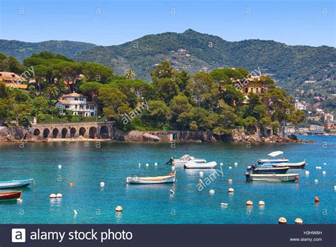 genoa sea europe italy rapallo mediterranean liguria stock photos