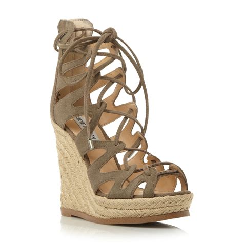 steve madden theea lace up wedge sandals in brown taupe