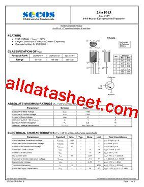 a1013y transistor datasheet 2sa1013 datasheet pdf secos halbleitertechnologie gmbh
