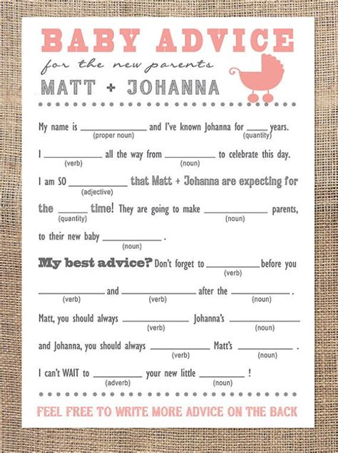 baby shower mad libs template baby advice mad libs template images