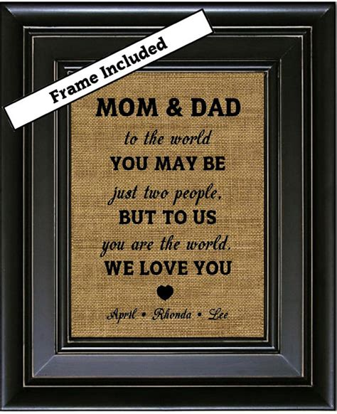 framed personalized gift for mom and dad from kids by
