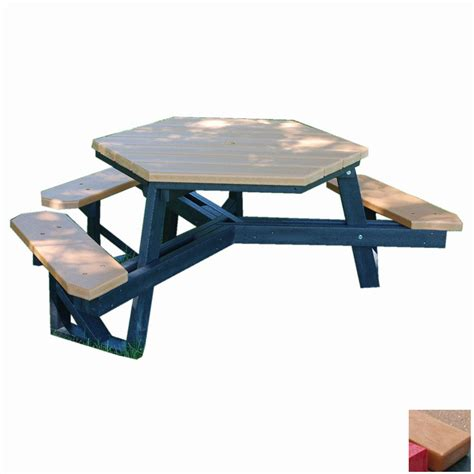 picnic tables at lowes shop frog furnishings green resin hexagon picnic table at