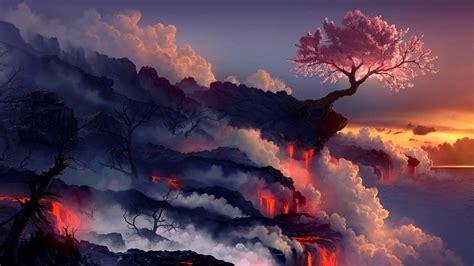 fantasy lava landscape wallpaper