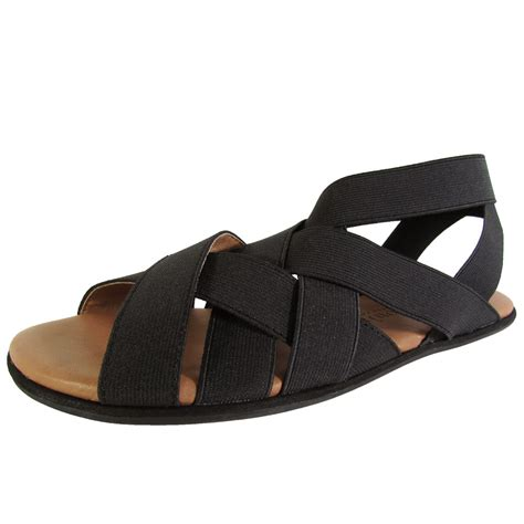 elastic sandals gentle souls womens bari elastic flat sandal shoes