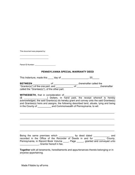 warranty deed form free pennsylvania special warranty deed form pdf word