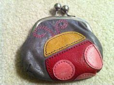 Fossil Bug Wallet s vintage light gray leather wallet ladybug
