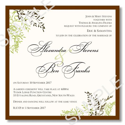 Budget Wedding Invitations Template Wedding Autumn Leaves Budgetweddingstationery Com Au Wedding Invitations Templates