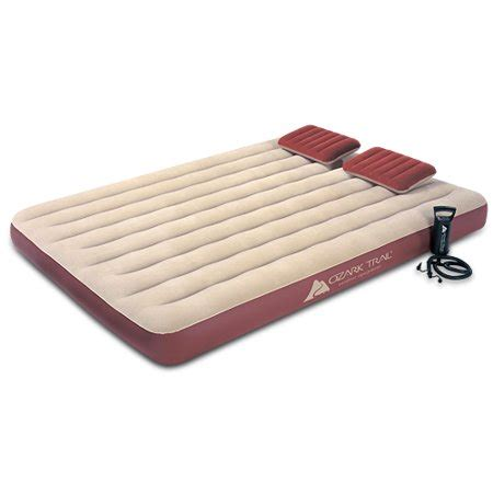 ozark trail king size velour top air bed  pillows