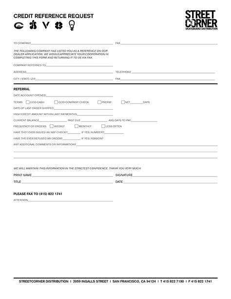 Credit Reference Form Sle Business Credit Reference Form Free Printable Documents