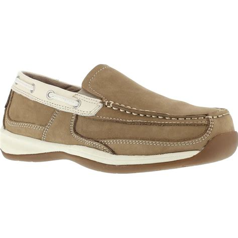 rockport boat shoes extra wide rockport women s steel toe boat slip on work shoe rk673