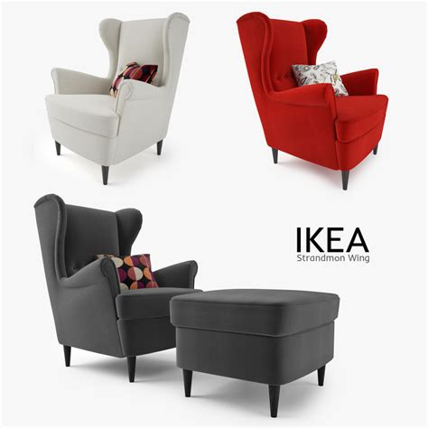 ikea armchair strandmon 3d model ikea strandmon wing chair