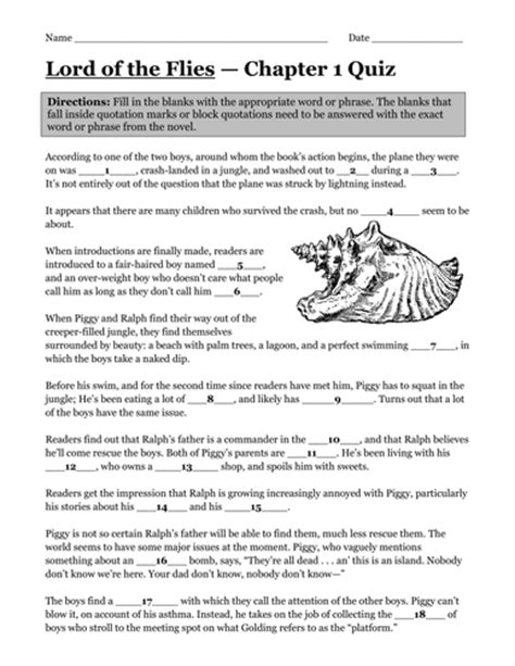 Lord Of The Flies Worksheets by Lord Of The Flies Catchphrase Quiz By Vinnydavevincent