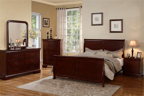 amazon com louis phillipe ii solid wood cherry finish f9231 cherry bedroom set huntington beach furniture