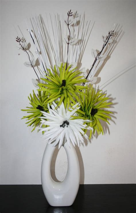 Modern Flower Arrangements In Vase by Artificial Silk Flowers Green White Flower Arrangement In Modern Vase Ebay