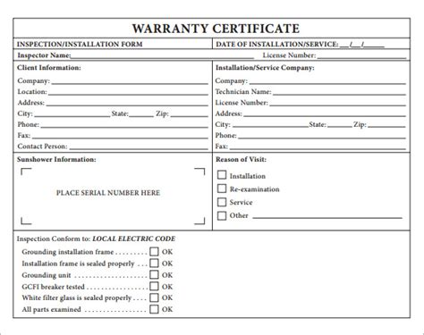 warranty card template word 7 sle warranty certificate templates to