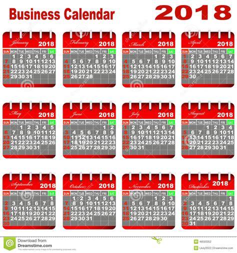 Calendario Laboral Madrid 2018 Excel Calendario 2018 Negocio Foto De Archivo Imagen 48593352