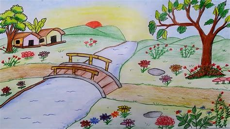 How To Draw A Garden Of Flowers how to draw scenery of flower garden step by step