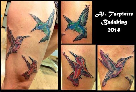 tatouage de al tarpietto graphique oiseaux sur jambe