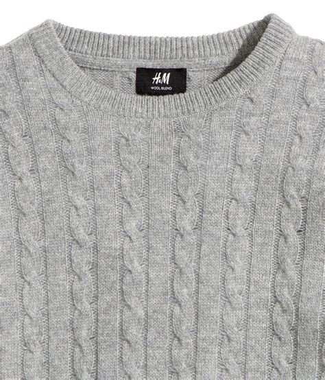 grey knitted jumper mens h m wool blend cable knit jumper in gray for lyst