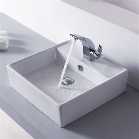 Bathroom Sink Basin Kraus C Kcv 150 14701ch White Square Ceramic Sink And