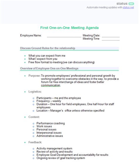 one on one staff meeting agenda template one on one meeting sle questions and 2 best agenda