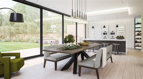 Modern Glass Dining Room Table by Kitchen And Dining Room In A Modern Extension Lli Design