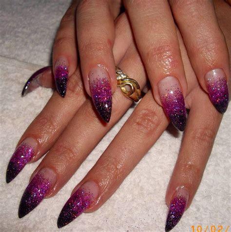 how to do ombre stiletto nail black purple ombr 233 glitter gel nails stiletto nails nail