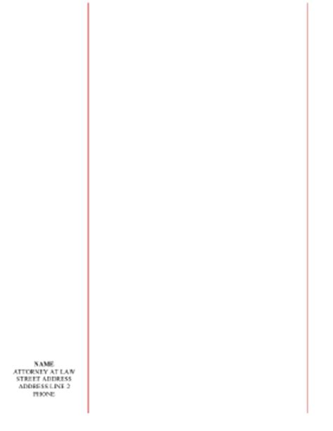 printable blank legal pleading paper red lines