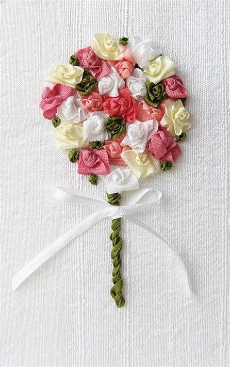 Wedding Bouquet Embroidery by Wedding Bouquet Card In Silk Ribbon Embroidery By Bstudio