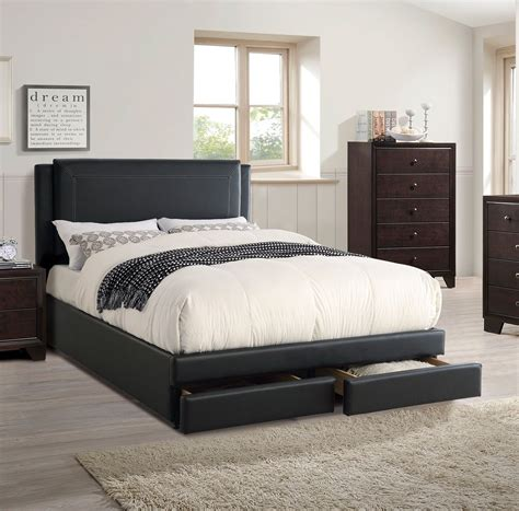 leather headboard bedroom set cal king storage bed bedroom set black faux leather