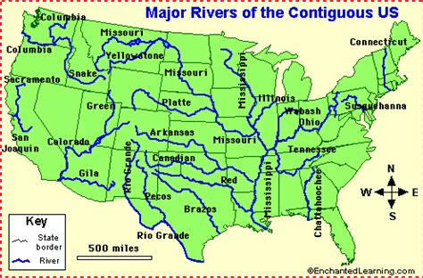 map of the us with rivers
