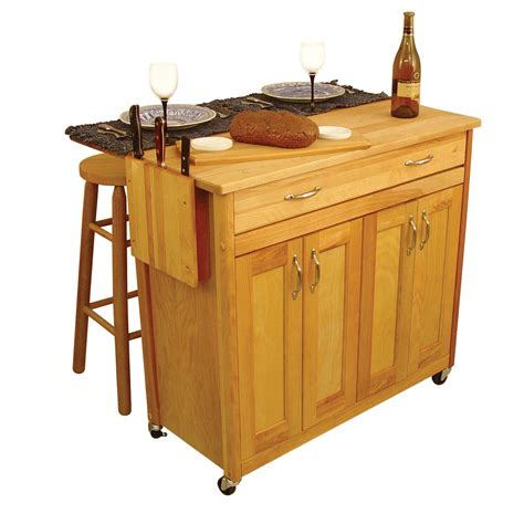 Wooden Kitchen Island Light Brown Wooden Kitchen Island With Drawers And Storage With Doors And Wheels