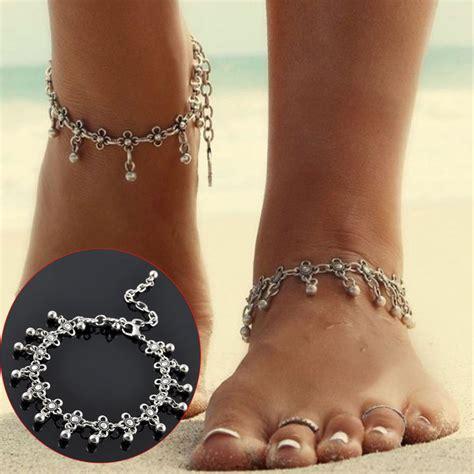 Vintage Antique Silver Flower Beads Tassel Anklet Beach Bracelet   Alex NLD