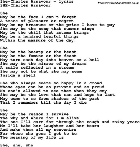 she s a brick house lyrics love song lyrics for she charles aznavour