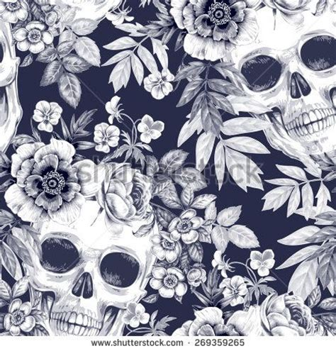 wallpaper skull flower vector seamless background wreaths of garden flowers and