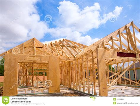 House Structure American Residential Wooden House Contruction Stock Photo