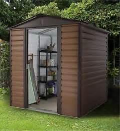 yardmaster woodgrain shiplap apex metal garden shed 6 x