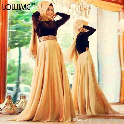 Turkey Maxi Golden 2016 cheap arabic muslim evening dresses with sleeves