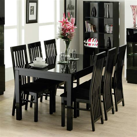 awesome black dining set furniture design with rectangular table and simple chairs around
