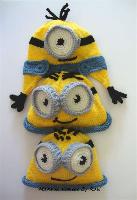 free knitted minion hat pattern knitted minion hats made in kansas by rosi